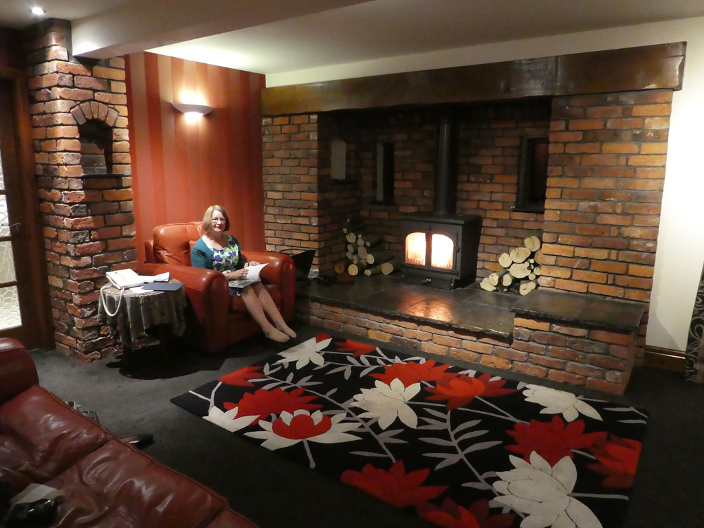 Snuggled up in front of the Woodburning Stove at the Gibbon Bridge Hotel Staple Oak Suite