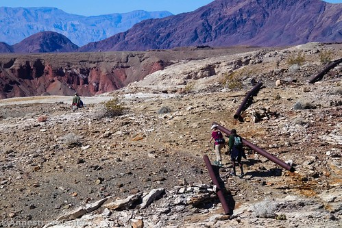 Hiking along the old pipeline to Keane Spring, Death Valley National Park, California
