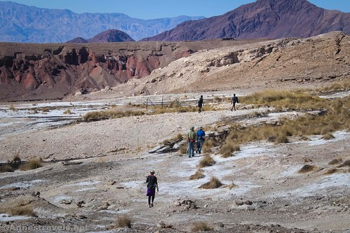 Hiking toward the water channels below Keane Spring, Death Valley National Park, California