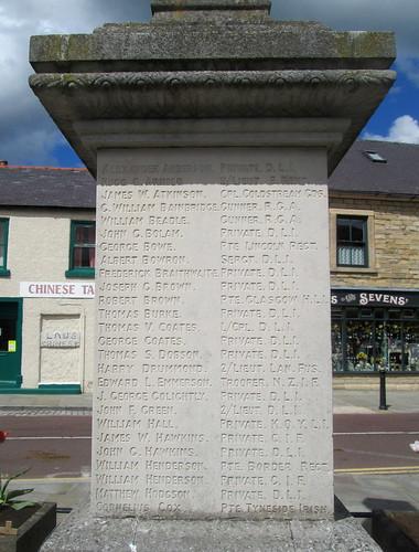 Great War Names, Wolsingham War Memorial