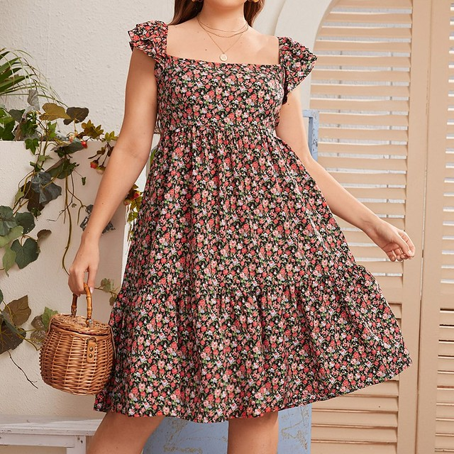 Handsome plus allover floral square neck smock dress
