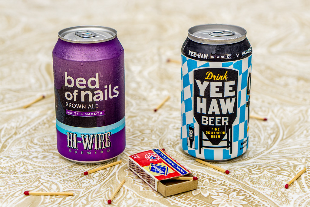 Hi-Wire Brewing Bed of Nails Brown Ale and Yee-Haw Brewing Co Fine Southern Beer