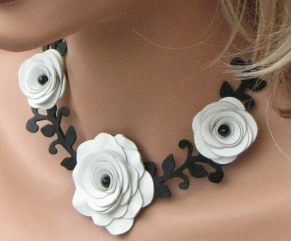 Hand-Made Genuine Leather Flower Necklace