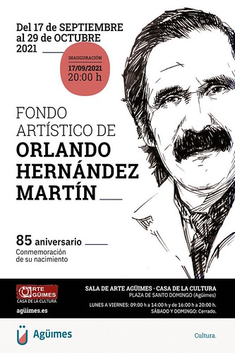"""Cartel de la exposición """"Fondo artístico de Orlando Hernández Martín"""" en la Sala de Arte Agüimes"""