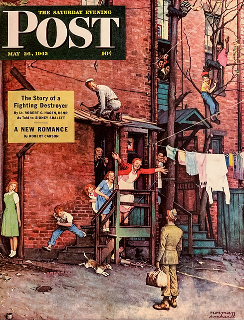 """""""The Homecoming"""" by Norman Rockwell on the cover of """"The Saturday Evening Post,"""" May 26, 1945.  Published just days after the Allied Victory in Europe."""