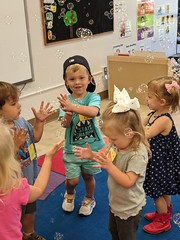 Goodbye bubble song at preschool today.