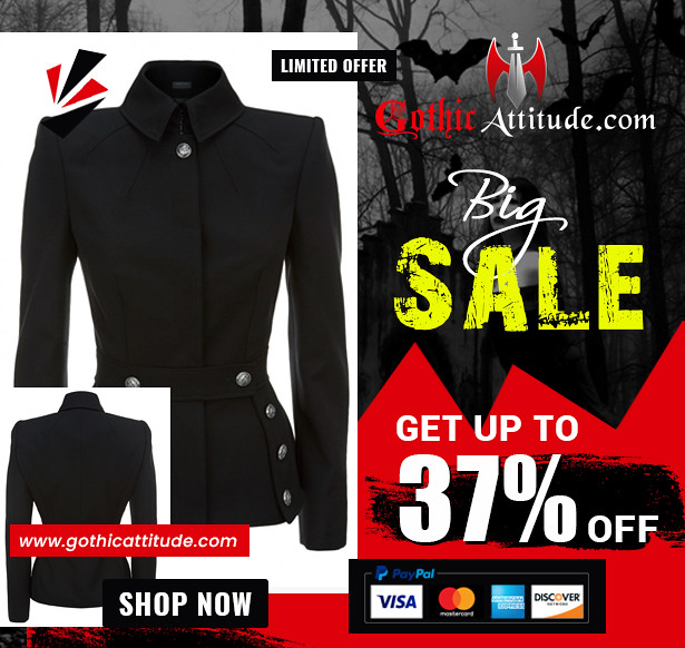 Women Military Style Coat Gothic Women Black Wool Military Style Fashion Jacket