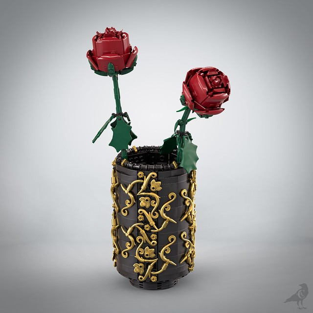 Gothic/baroque style vase with two roses