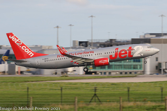 G-DRTZ - 2004 build Boeing B737-8AS, departing from Runway 05L at Manchester