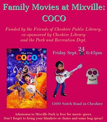Tomorrowu2019s Family Movies at Mixville program has been rescheduled due to rain in the forecast. Please join us on the 24th for an outdoor screening of u201cCocou201d! #movienight #cheshirect #familymovienight #libraryprogram #coco #librariesofinstagram #librariesm