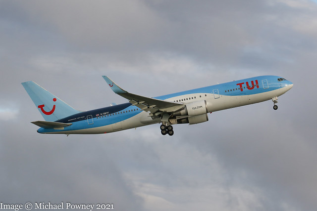 G-OBYF - 1998 build Boeing B767-304ER, climbing on departure from Runway 05L at Manchester