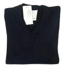 Maglione uomo taglia L scollo a V lana blu Made in Italy medio pesante RP u20ac 49