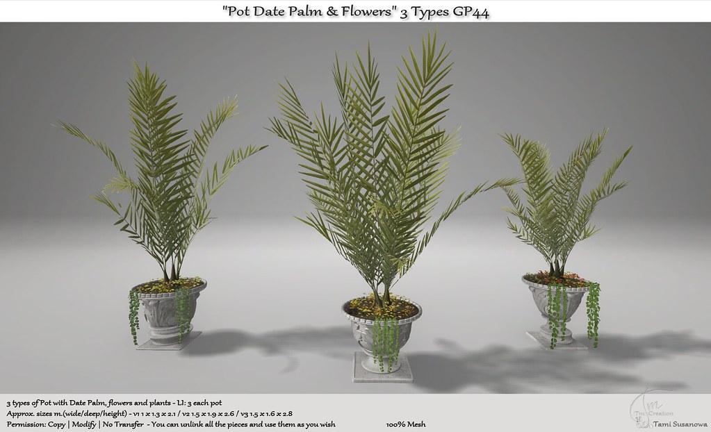 ".:Tm:.Creation ""Pot Date Palm & Flowers"" Pack 3 types GP44"