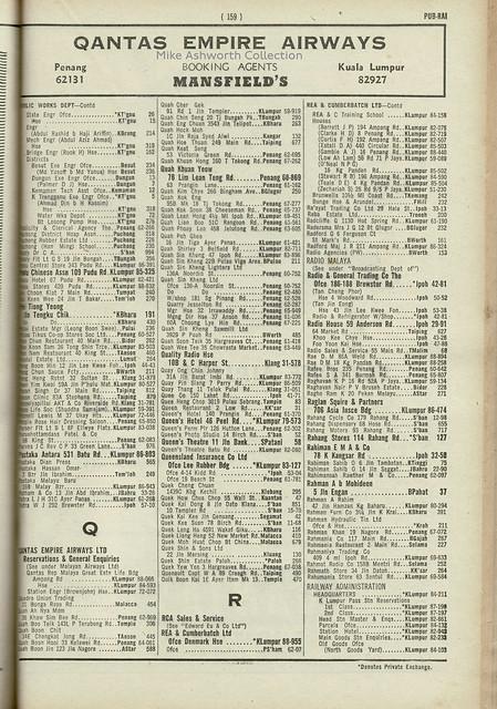 Federation of Malaya : telephone directory, January 1960 : Railway Administration part 1