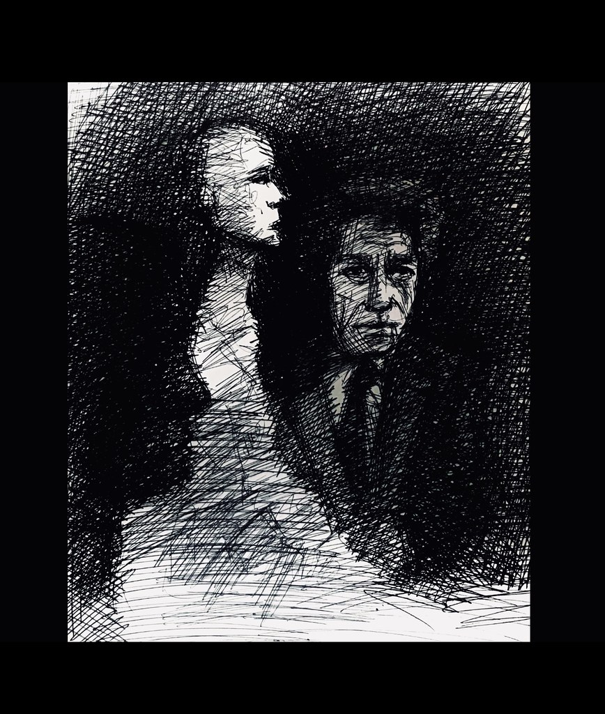 Alberto Giacometti, 1901-1966, Swiss Painter , Sculptor, Draughtsman, and PrintMaker . Ballpoint pen only drawing by jmsw on card.