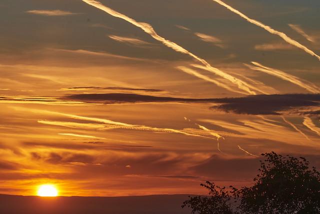 Aircraft  trails at Sunrise