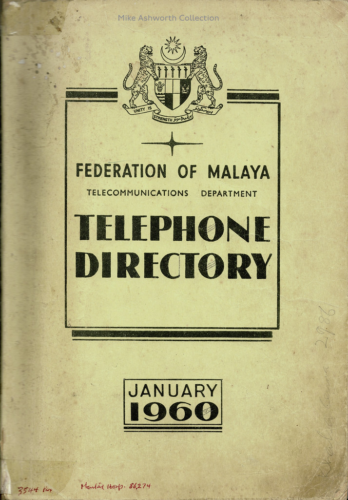 Federation of Malaya : telephone directory, January 1960 : front cover