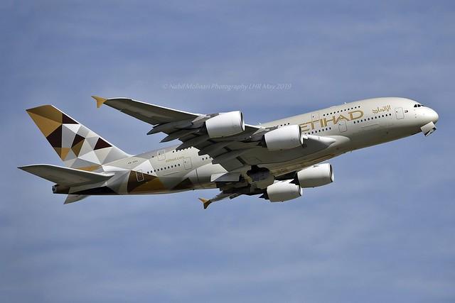 Etihad Airways A6-APA Airbus A380-861 cn/166 wfu & std at AUH 23 Mar 2020 std at LDE 5 Nov 2020 @ EGLL / LHR 14-05-2019