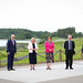 11 June 2021 - Press Eye - Belfast - Northern Ireland -  11th June 2021 -   British Irish Council (BIC) Summit: Lough Erne Resort, Enniskillen.   First Minister Arlene Foster and deputy First Minister Michelle O'Neill pictured with Senator John John Le Fondre, Chief Minister of Jersey, Taoiseach Micheál Martin, Michael Gove, Chancellor of the Duchy of Lancaster and Howard Quayle, Chief Minister of the Isle of Man.   Photo by Kelvin Boyes / Press Eye.