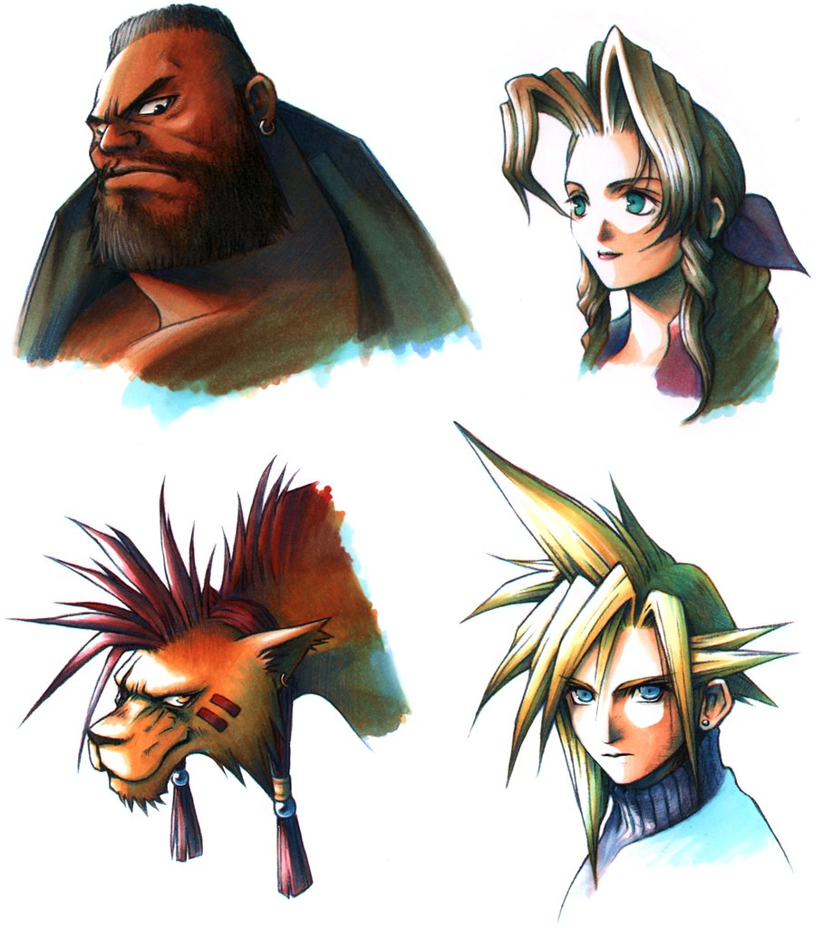 Final Fantasy VII heroes Barret, Aerith, Red XIII, and Cloud