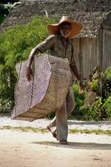 Man Carrying Fish Trap; Manompana, Madagascar