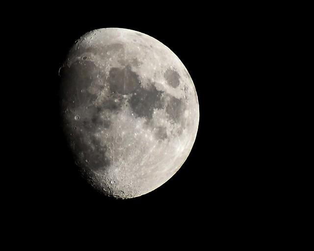 Waxing gibbous moon over Columbus, Ohio, 9/16/21, 8PM