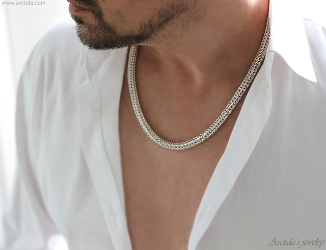 Mens necklace heavy Roundmaille chain necklace in sterling silver. Mens jewelry by Arctida