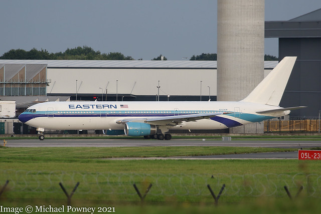 N703KW - 1991 build Boeing B767-336ER, taxiing for departure at Manchester
