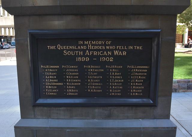 Brisbane - Anzac Square South African Memorial/Boer War Memorial side 2. Queensland