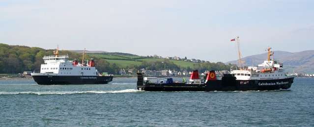 CalMac's Bute and Saturn in Rothesay Bay
