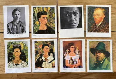 Self portraits by Frida Kahlo, Van Gogh, and others