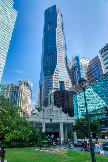 Raffles Place Park and MRT Station in the middle of the Central Business District (CBD) in Singapore