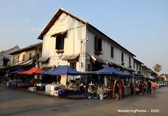 Large canopies over the street market stalls - Luang Prabang Laos