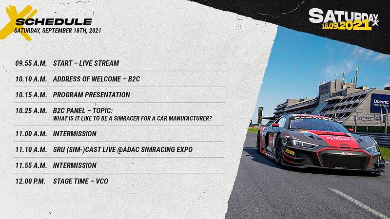 Sim Racing Expo Saturday Schedule 1