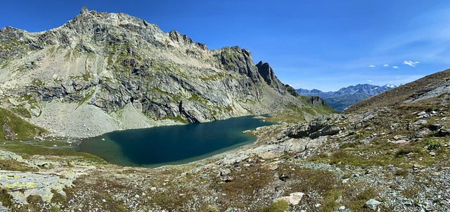 Lunghin lake and Piz Grevasalvas (2932 m)