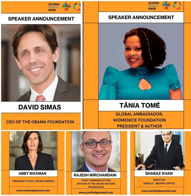 Abby Maxman, Tania Tome, David Simas speakers at Youth SDG Summit 2021