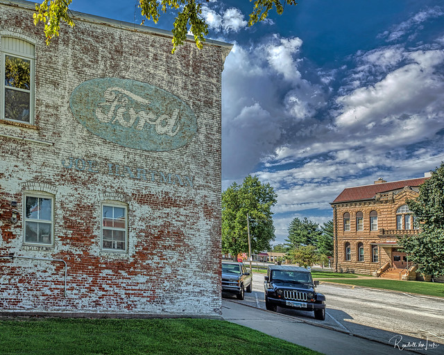 Courthouse And Faded Painted Wall Advertising For Joe Hartman Ford, Carrollton, Illinois