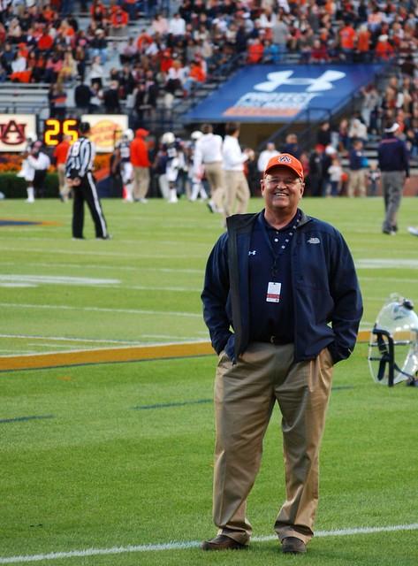 Dr. Jim Phillips on the field at Jordan-Hare Stadium.