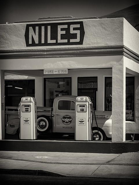 Niles Gas Station  Pumps #1  B&W