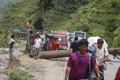 The Arniko Highway blocked by the Maoists