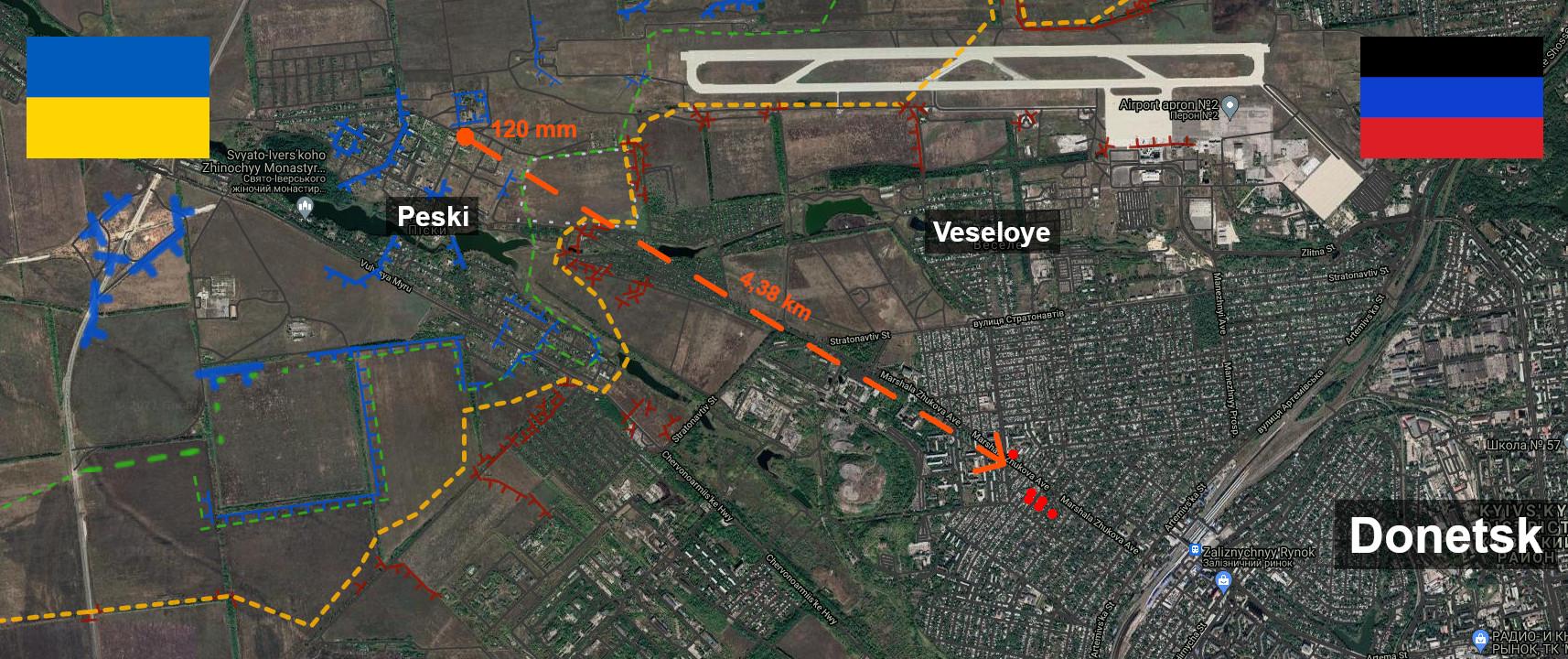 Carte du bombardement de l'armée ukrainienne contre les civils de Donetsk