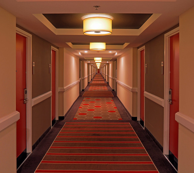 Trying to find my room after having two too many... Don't know what time it is; there are no clocks in this stupid town...