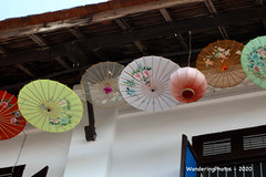 Close-up roof decoration parasols - Luang Prabang Laos