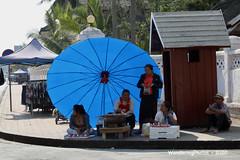 Inside the giant blue umbrella - Luang Prabang Laos