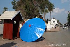On top of the giant blue umbrella - Luang Prabang Laos