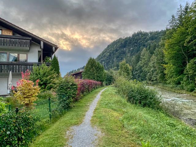 Path along Kiefererbach creek in Kiefersfelden in Bavaria, Germany