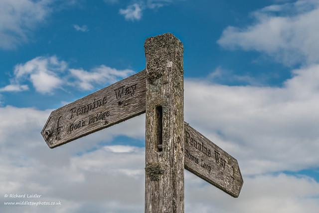 Pennine Way Signpost Gods Bridge Bowes Loop Sep 2021