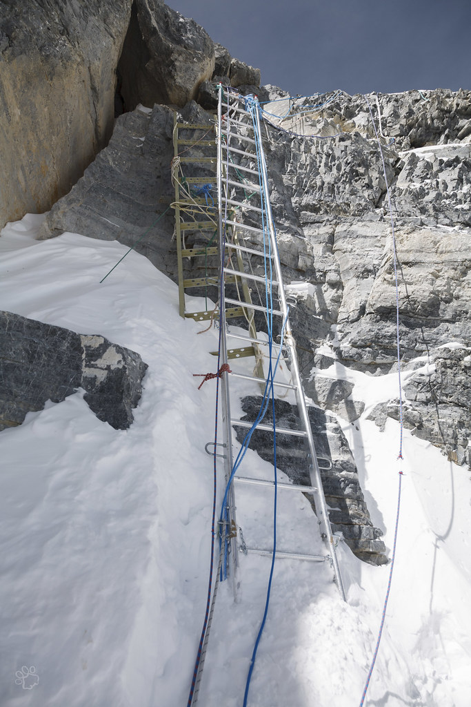 The two ladders at the Second Step, the old Chinese airplane ladder and new stronger and longer ladder
