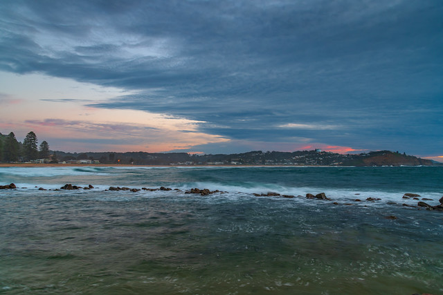 Sunrise seascape with cloud cover