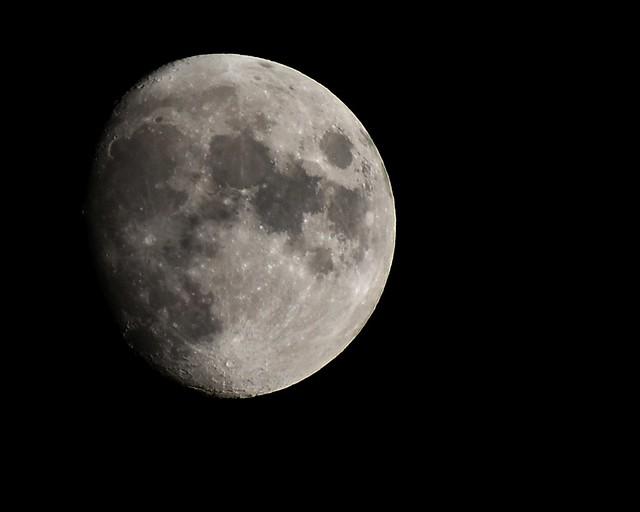 Waxing gibbous moon over Columbus, Ohio, 9/17/21, 8PM